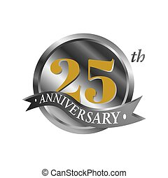 25th anniversary vector logo illustration. 25 years silver anniversary celebration logotype with number and ribbon. twentyfive years celebration event sign symbol on white background.