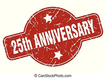 25th anniversary vintage stamp. 25th anniversary sign