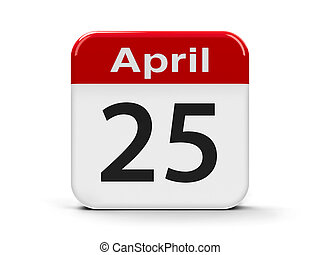 25th April - Calendar web button - Twenty Fifth of April -...