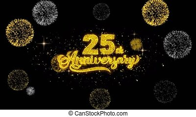 25th Happy Anniversary Golden Text Blinking Particles with...