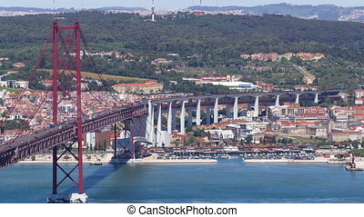 25th of April Suspension Bridge over the Tagus river, connecting Almada and Lisbon in Portugal timelapse
