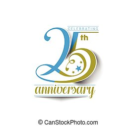 25th Years Anniversary Celebration Vector Design.