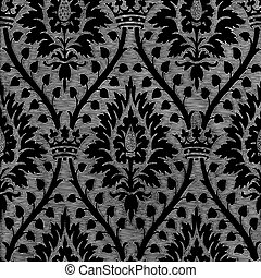 26 - Abstract hand-drawn floral seamless pattern with crown,...