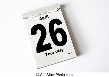26. April 2012 - calendar sheet