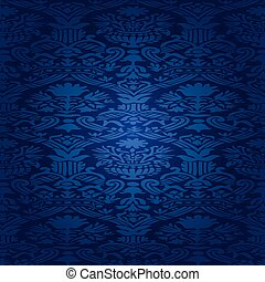 26 - Blue Seamless abstract hand-drawn floral pattern,...