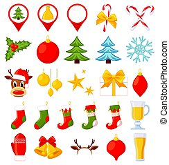 26 colorful cartoon christmas elements. New year holiday...