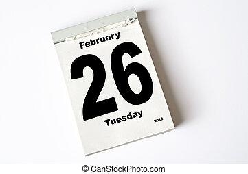 26. February 2013 - calendar sheet