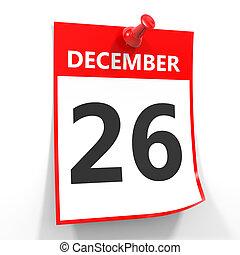 26, hoja, pin., diciembre, calendario, rojo