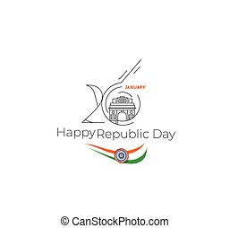 26 january Republic day concept - Taj Mahal Hand Drawn,...