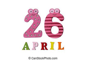 26, letters., avril, nombres, fond, blanc