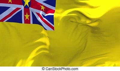 26. Niue Flag Waving in Wind Continuous Seamless Loop Background.