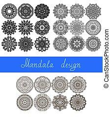 26, set, ornament, verzameling, afdrukken, cirkel, mandala, ontwerp