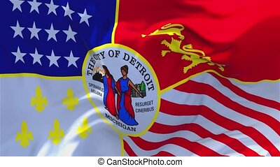 268. Detroit City Flag Waving in Wind Continuous Seamless Loop Background.