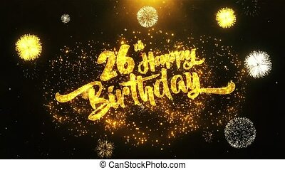 26th Happy Birthday Text Greeting, Wishes, Celebration, invitation Background