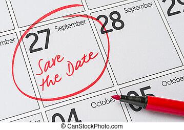 27, σεπτέμβριοs , - , γραμμένος , ημερομηνία , ημερολόγιο , αποταμιεύω
