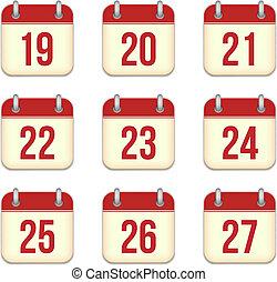 27, 19, app, 日々, icons., ベクトル, カレンダー
