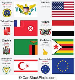 27, conjunto, banderas, capitales, mundo