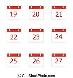 27, iconen, 19, app, vector, kalender
