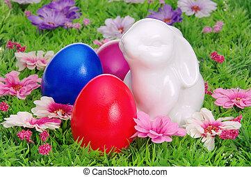 27, jaja, kwiat, wielkanoc, łąka
