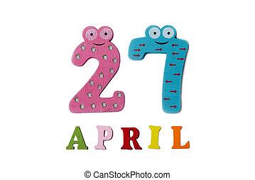 27, letters., avril, nombres, fond, blanc