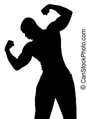 27, músculos, flexionar, homem