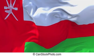 27. Oman Flag Waving in Wind Continuous Seamless Loop Background.
