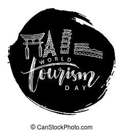 27, septiembre, concept., mundo, turismo, día