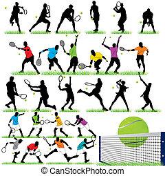 27, tennis, ensemble, joueurs
