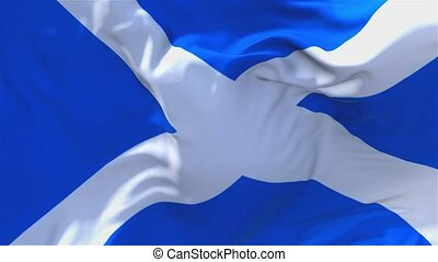 279. Scotland Flag Waving in Wind Continuous Seamless Loop Background.