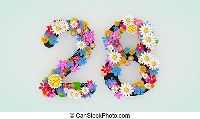 """28."""", animation, floral, """"numerical, chiffre"""
