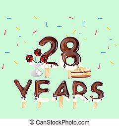 28, aniversário, anos, cartão aniversário, celebração