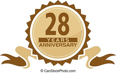 28, aniversário, fita, anos