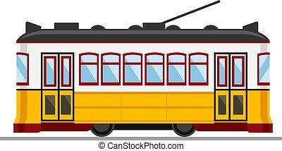 28, célèbre, lisbonne, vendange, jaune, tram, portugal.