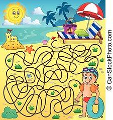 28, tema, 2, spiaggia, labirinto