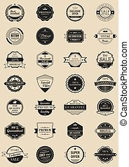 28 vector labels and logotypes. Set of vintage retro stamps, ribbons, frames and marks.