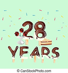 Happy 28th birthday anniversary card with colorful vectors 28 years anniversary celebration birthday card bookmarktalkfo Gallery