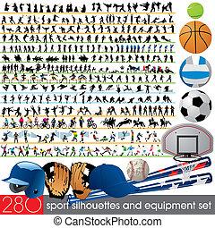 280, sportende, silhouettes, en, uitrusting