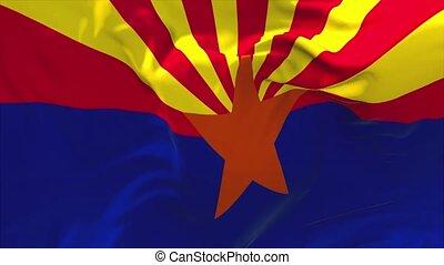 282., de staat van arizona, voortdurend, seamless, ons, zwaaiende , achtergrond., vlag, lus