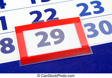 29 calendar day - date of today shown by calendar with red...