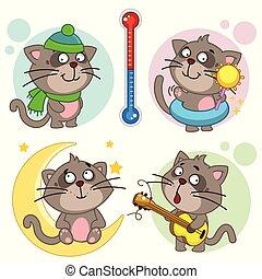 29., chats, partie, icônes