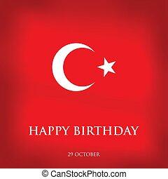 29 Ekim Cumhuriyet Bayraminiz kutlu olsun. Translation: 29 october Happy Republic Day Turkey. Greeting card design elements