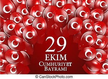 29 Ekim Cumhuriyet Bayraminiz. Translation: 29 october Republic Day Turkey. Vector Illustration