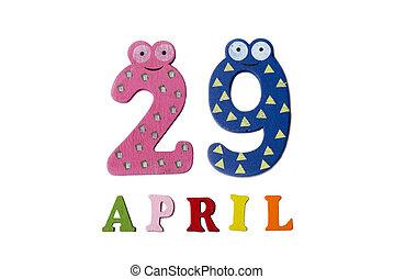 29, letters., avril, nombres, fond, blanc