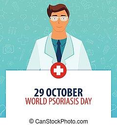 29 October. World Psoriasis Day. Medical holiday. Vector medicine illustration.