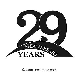 29 years anniversary, flat simple design, logo