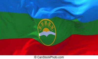 291. Karachay Cherkessia Flag Waving Continuous Seamless Loop Background.