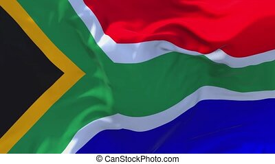 292. South Africa Flag Waving in Wind Continuous Seamless Loop Background.