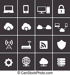 296-2network, et, nuage, calculer, icônes