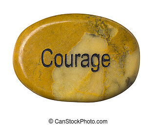 298 courage stone - Courage stone isolated on a white...