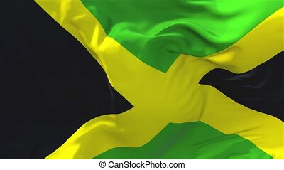 299. Jamaica Flag Waving in Wind Continuous Seamless Loop Background.